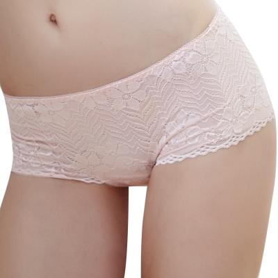 思薇爾 溝惹火系列蕾絲低腰平口褲(亮膚粉)