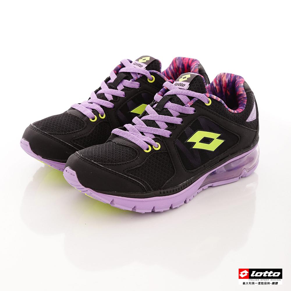 LOTTO女款大氣墊雙重避震花漾炫彩跑鞋黑紫LT6AWR3090
