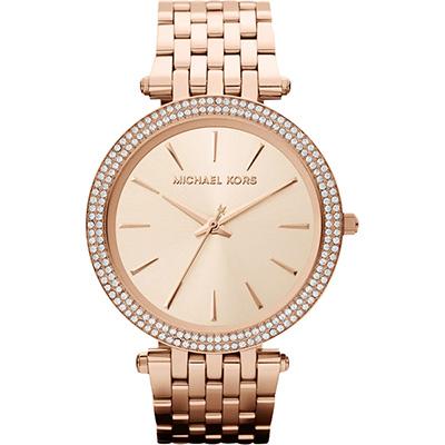 Michael Kors 光耀晶鑽都會腕錶-玫瑰金
