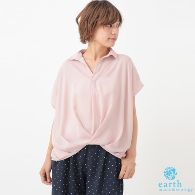 earth music  下擺抓摺設計短袖襯衫上衣