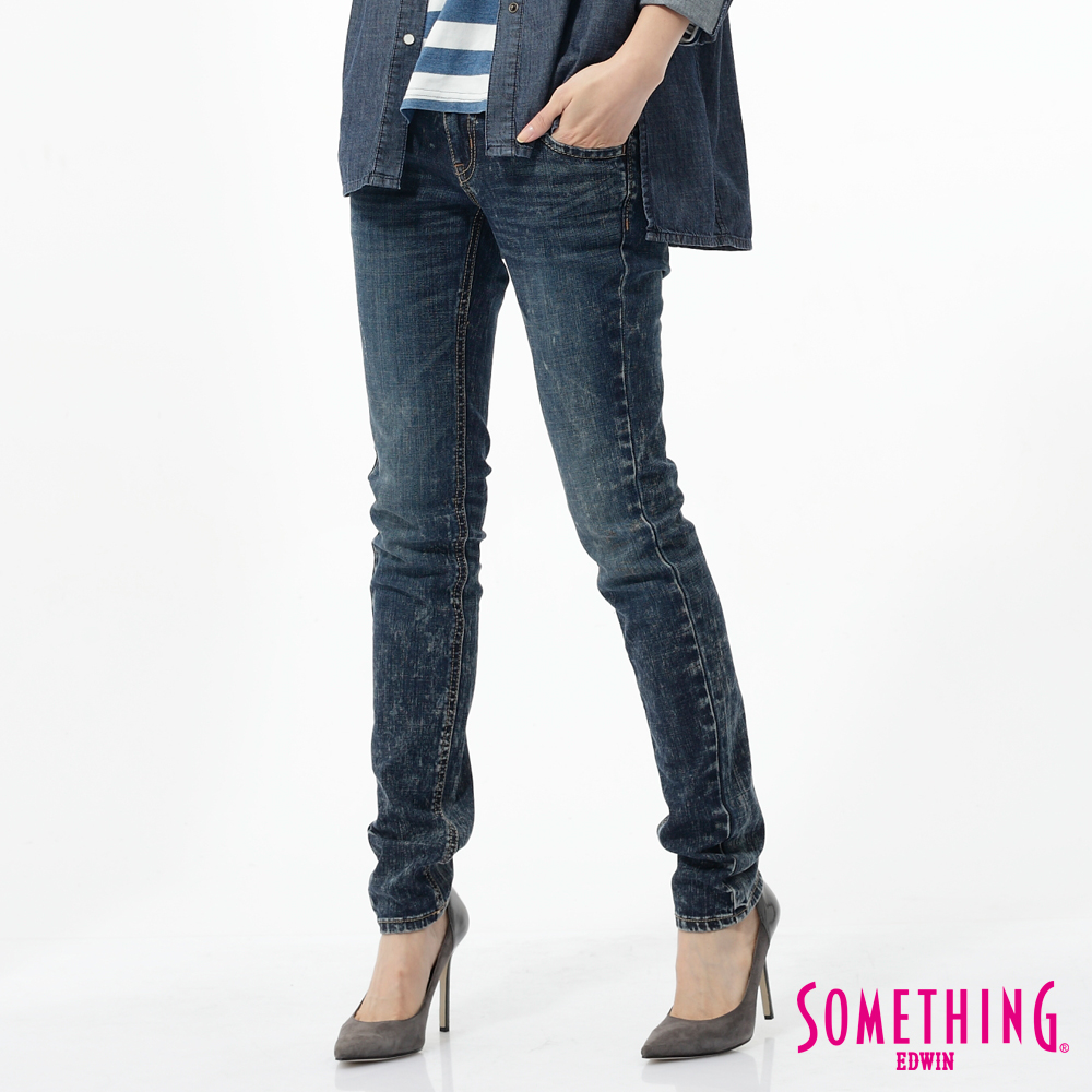 SOMETHING 窄直筒 MEIDUSA雪晶牛仔褲-女-石洗藍