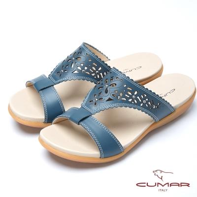 CUMAR舒適寬楦 簍空雕花真皮平底涼鞋-藍