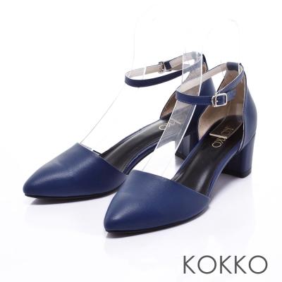 KOKKO經典真皮法式優雅繫踝粗跟鞋藍