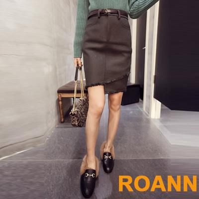 不規則下擺毛呢短裙 (共二色)-ROANN