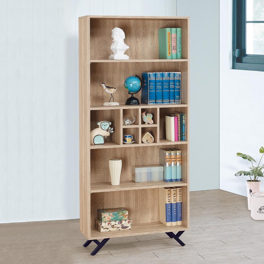 Boden-奈莉2.7尺開放式書櫃/收納櫃/展示櫃-80x30x180cm