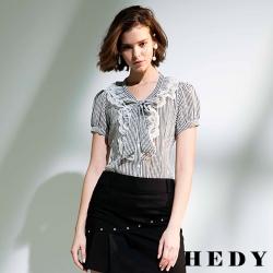 Hedy赫蒂 層次蕾絲蝴蝶結領條紋襯衫(共二色)