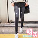 正韓 刷破痕貼合窄管牛仔褲 (共二色)-100%明洞