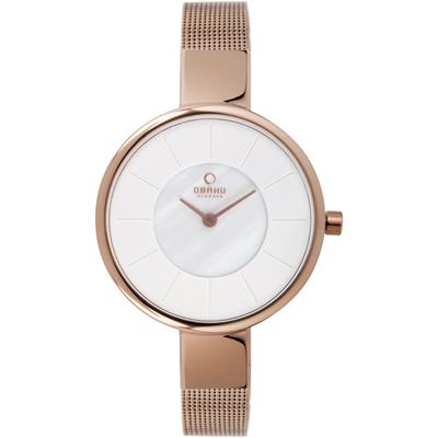 OBAKU 采麗時刻時尚米蘭腕錶-白x玫瑰金色/32mm