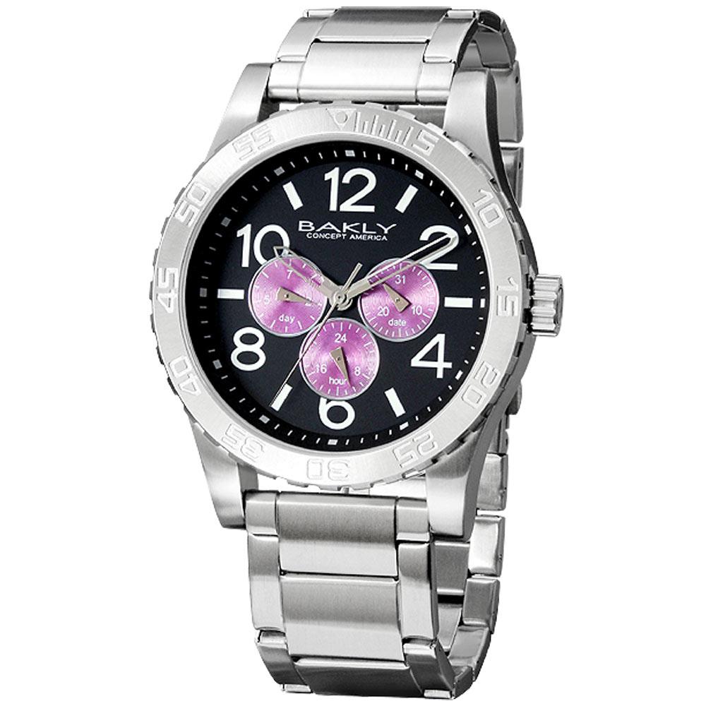 BAKLY 撼動系列德意防衛軍全日曆腕錶-黑x紫圈/44mm