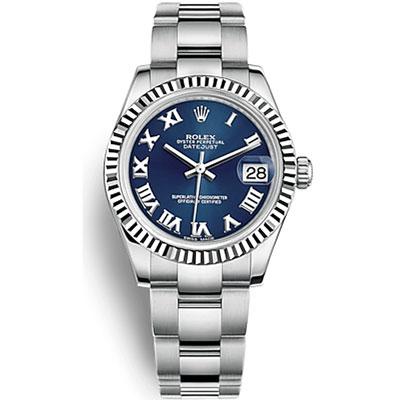ROLEX 勞力士 178274蠔式女錶日誌型自動上鍊藍面羅馬-31mm