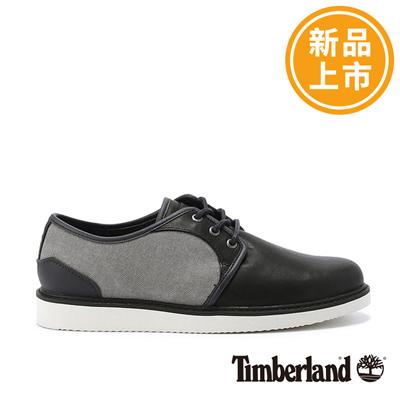Timberland 男款深藍色帆布拼接皮革淺口鞋