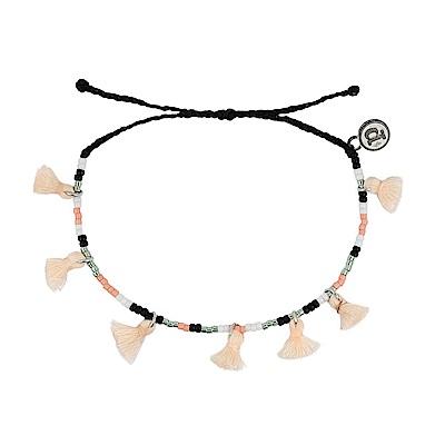 Pura Vida 美國手工 粉色流蘇彩珠系列 黑色臘線可調式手鍊防水衝浪手繩