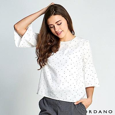 GIORDANO 女裝七分荷葉寬袖棉麻上衣-09 白/黑點點
