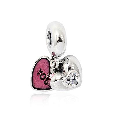 Pandora 潘朵拉 ME&YOU桃紅雙心琺瑯 垂墜純銀墜飾 串珠