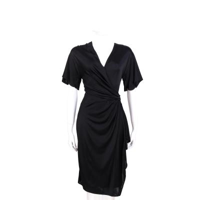 VERSACE 黑色V領絲緞洋裝