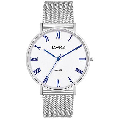LOVME 學院風米蘭時尚手錶-白x藍/41mm