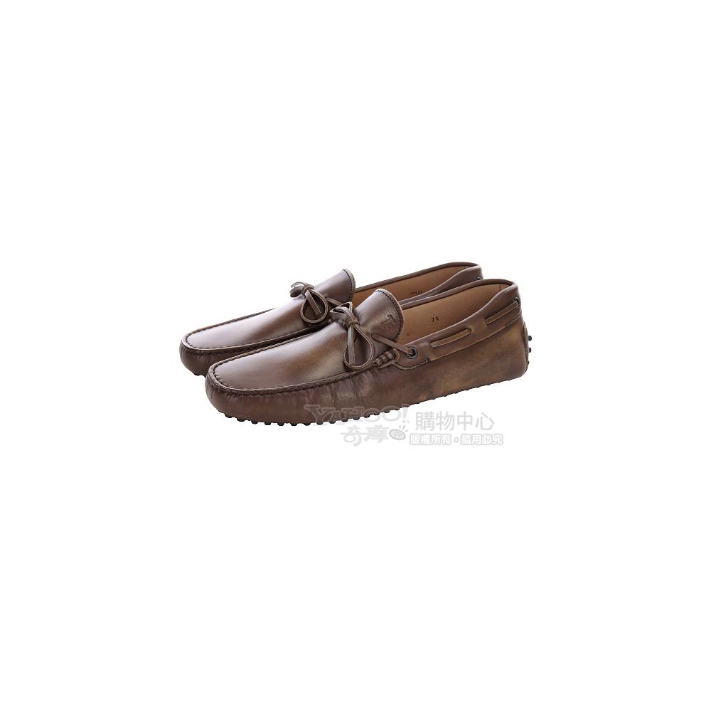 TOD'S 咖啡色復古刷色綁帶豆豆休閒鞋
