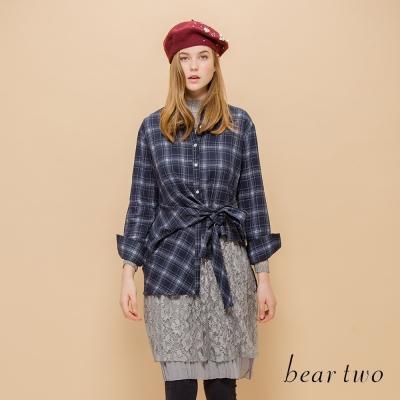 beartwo 網路獨家-下擺綁帶造型長版格紋襯衫(三色)