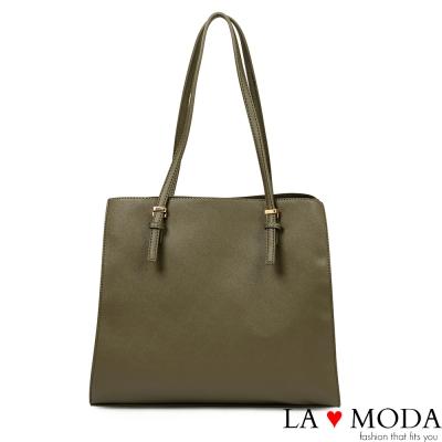La Moda 百搭不敗單品優雅防刮十字紋大容量肩背托特包(綠)