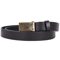 DOLCE & GABBANA 仿舊金屬牌設計皮革腰帶(黑色)