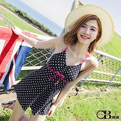 夏日嬌點~連衣裙式點點泳裝‧1色-OB大尺碼
