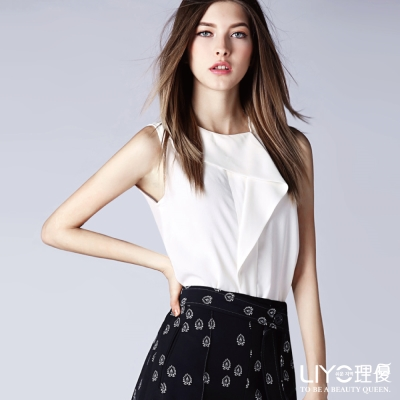 LIYO理優歐風上衣雪紡荷葉無袖上衣(白)