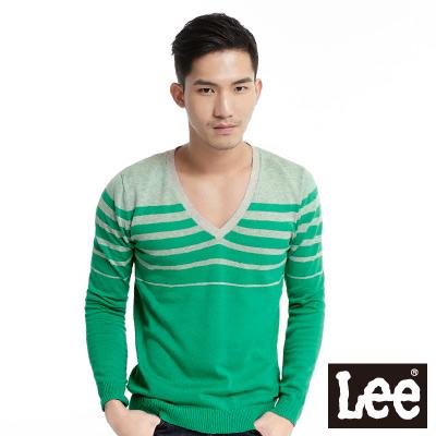 Lee-V領條紋毛衣-男款-綠