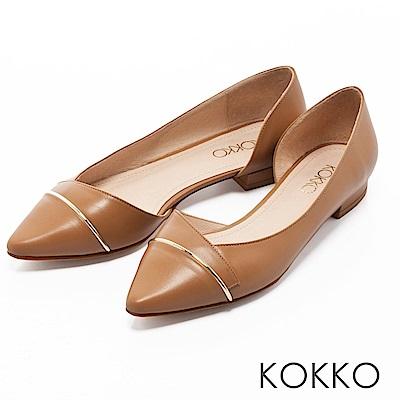 KOKKO -都會時尚尖頭金屬環側挖空平底鞋-卡其咖
