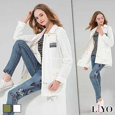 LIYO理優釘珠長版軍風外套(白色)
