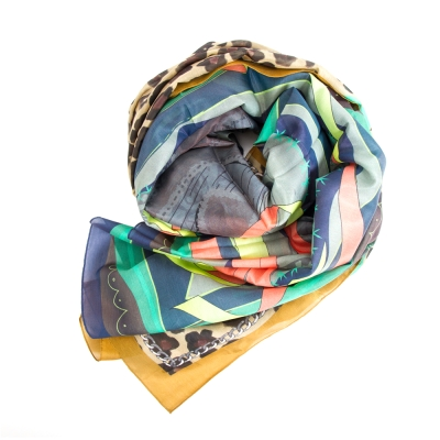 GG-L-PATCHMAKER圍巾-混米色印花