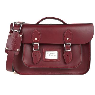 The Leather Satchel 英國手工牛皮劍橋包 肩背後背包 葡萄紅 14吋