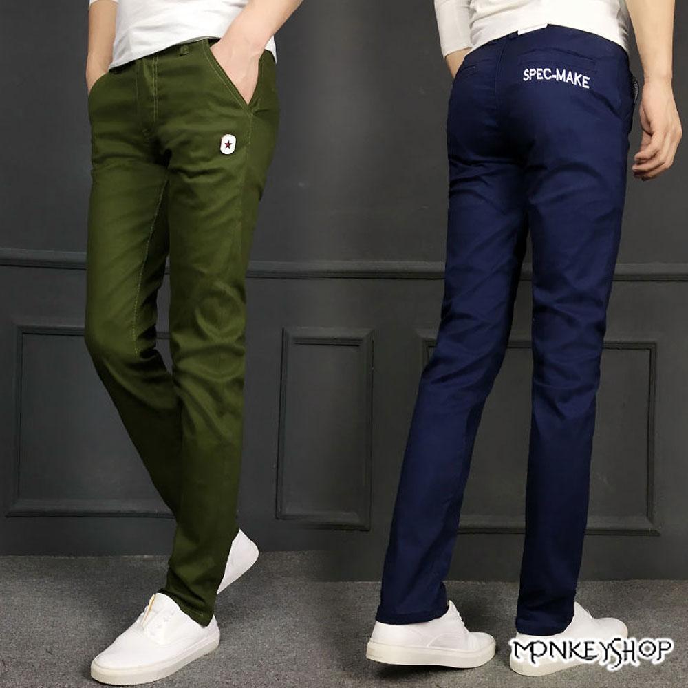 小猴子的賣場 造型星星皮標素面休閒工作長褲-3色