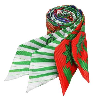 HERMES Mythiques鳳凰鳥森林Twilly絲巾/領結(綠X橘-一組兩條)