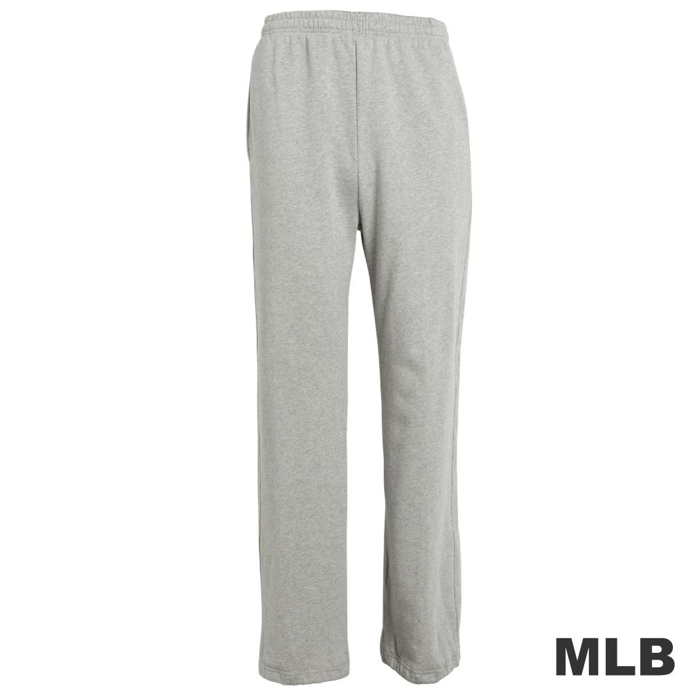 MLB-純棉縮口印花厚長褲-麻灰(男)