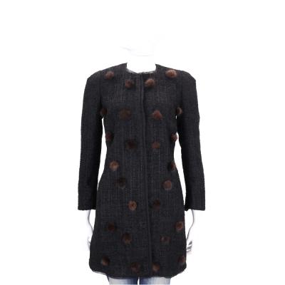 EDWARD ACHOUR PARIS 黑色毛球設計大衣外套