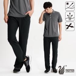 【遊遍天下】男款涼爽超顯瘦彈性吸濕排汗抗UV長褲P131黑色