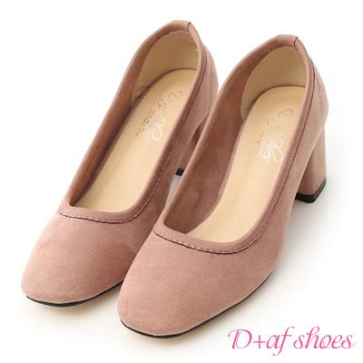 D+AF 秋氛時尚.素面絨料小方頭高跟鞋*粉