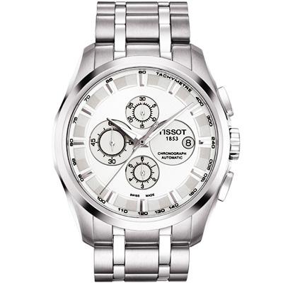 TISSOT Couturier 建構師系列計時機械腕錶-銀/43mm