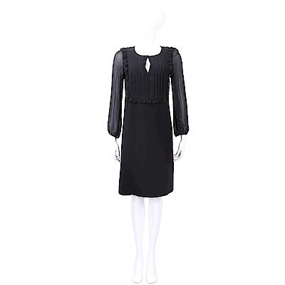 Max Mara 荷葉打摺細節黑色雪紡透膚袖絲質洋裝