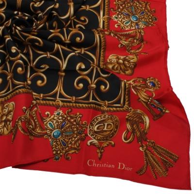 Christian Dior 皇家金飾圖紋大領巾-紅色
