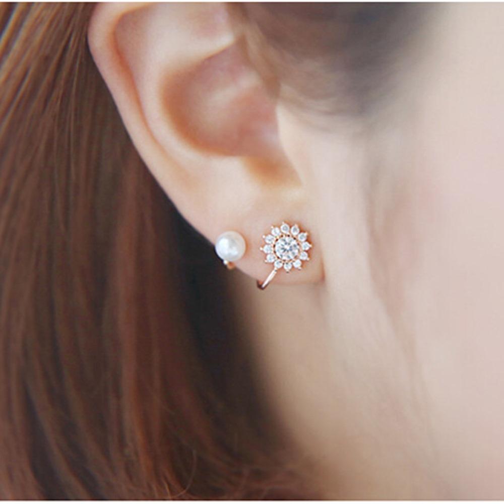 梨花HaNA韓國925銀太陽鑽皓石珍珠曲線耳環