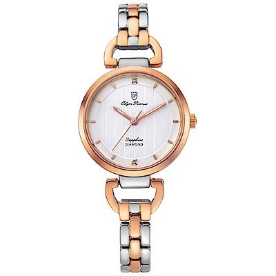 Olym Pianus 奧柏表 典雅直線壓紋時尚腕錶-雙色x白 2483LSR