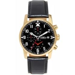 AstroAvia 爭霸青雲計時鬧鈴碼錶-黑x玫瑰金框/42mm