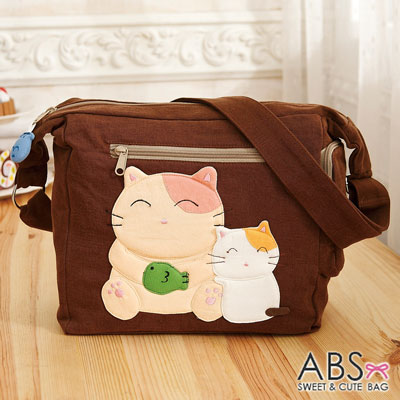 ABS貝斯貓 - 微笑大貓小貓可愛拼布 斜側背包88-189 - 咖啡