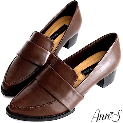 Ann'S時髦復古-韓系粗跟紳士休閒便鞋-復古咖