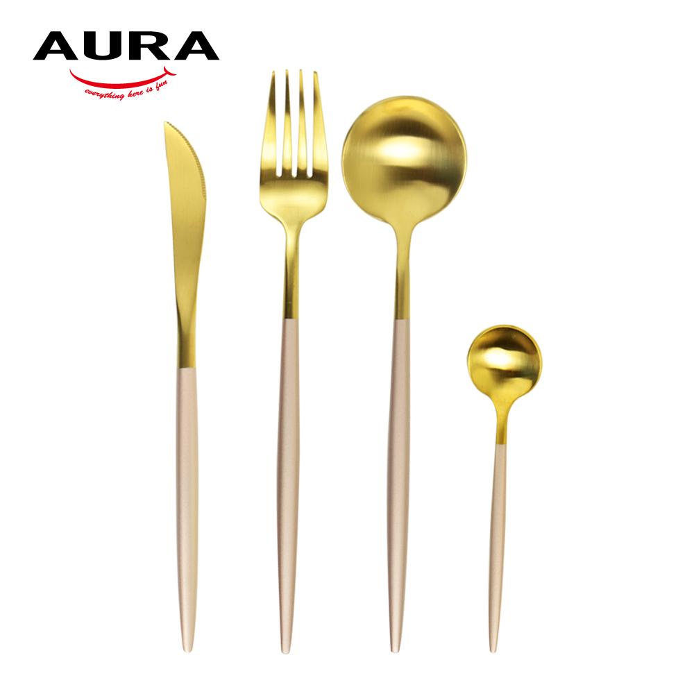AURA艾樂 Fantasy鈦奢華不鏽鋼餐具四件組(金+玫瑰柄)