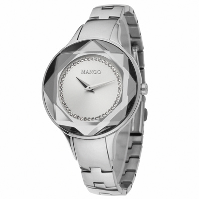 MANGO 獨特魅力晶鑽多切割仕女腕錶-銀/36mm