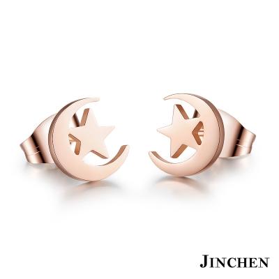 JINCHEN 白鋼日月星辰耳環 玫瑰金