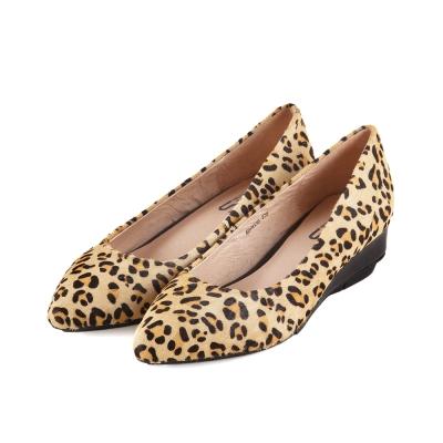 TAS-性感豹紋馬毛楔型尖頭鞋-豹紋棕