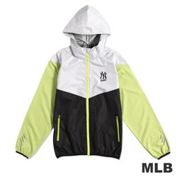 MLB-紐約洋基隊撞色運動薄風衣連帽外套-黑(男)